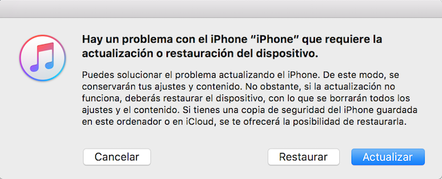 modo recuperacion iphone itunes