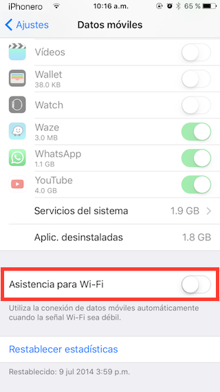 desactivar asistencia wifi iphone