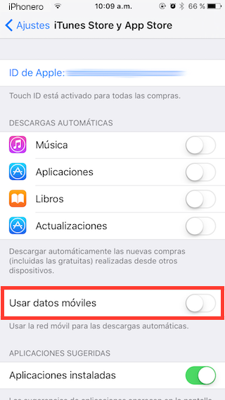 desactivar datos moviles descargas automaticas iphone