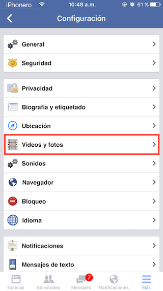 desactivar reproduccion automatica videos facebook iphone 3