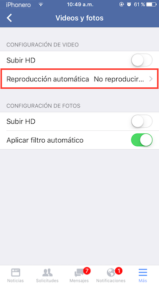 desactivar reproduccion automatica videos facebook iphone 4