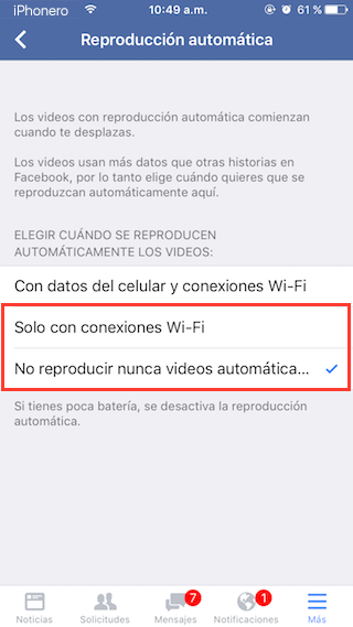 desactivar reproduccion automatica videos facebook iphone 5