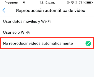 desactivar reproduccion automatica videos twitter iphone 5