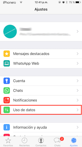 reducir datos moviles whatsapp iphone 2