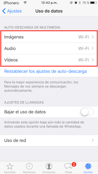 reducir datos moviles whatsapp iphone 3