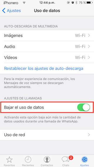 reducir datos moviles whatsapp iphone 5