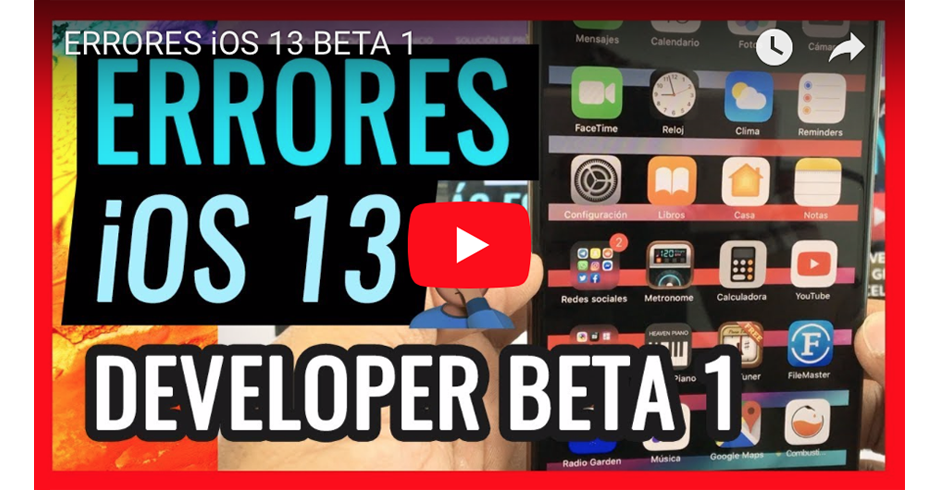 ERRORES ENCONTRADOS EN iOS 13 DEVELOPER BETA 1